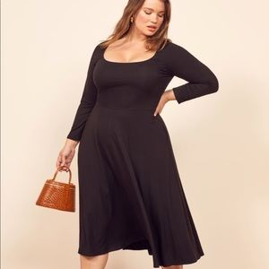 Reformation fit and flare 3/4 sleeve midi dress 1X
